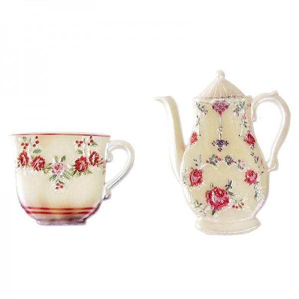 Wachsornamente, Tasse & Kanne 1, Kaffee/Tee, 2 Stück