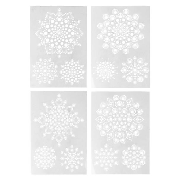 Design-Schablonen Easy Dotting 4, DIN A4, verschiedene Designs, Lochgröße: 1-12mm, 4 Stück