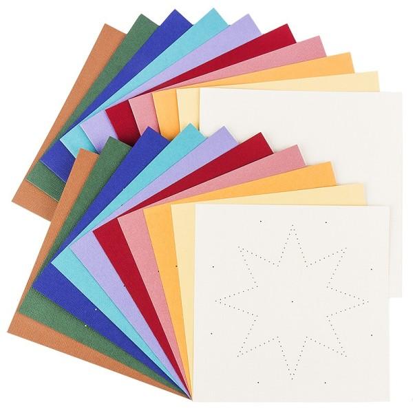 """Fadengrafik-Grußkarten """"Stern 1"""", Leinen-Optik, 16x16cm, 10 Farben, inkl. Umschläge, 10 Stück"""