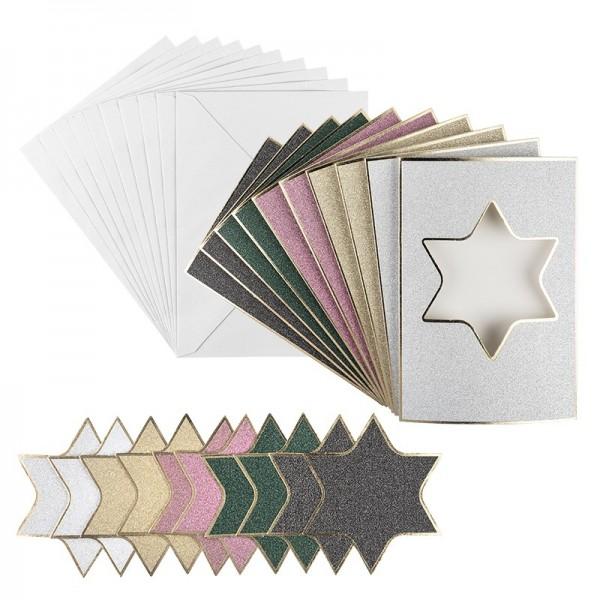 3-Fach-Grußkarten, Passepartout, Stern, B6, 5 versch. Farben, inkl. Umschläge, 10 Stück