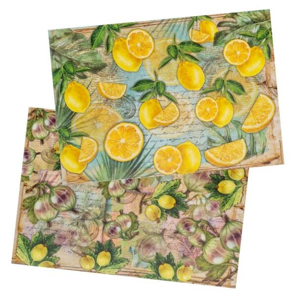Reispapiere, Stachelbeeren & Zitronen, DIN A4, 2 Designs