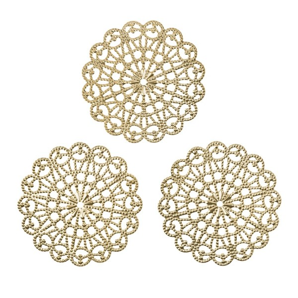 Metall-Ornamente, Design 34, Ø 8,1cm, hellgold, 3 Stück