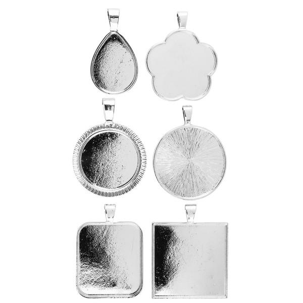 Schmuckanhänger, Rohlinge, Design 3, versch. Designs & Größen, silber, 6 Stück