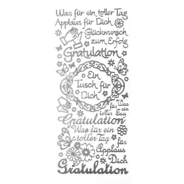 "Sticker, Schriften, ""Gratulation/Applaus"", uvm., Spiegelfolie, silber"