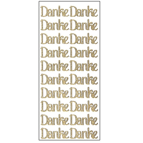 Microglitter-Sticker, Danke, gold