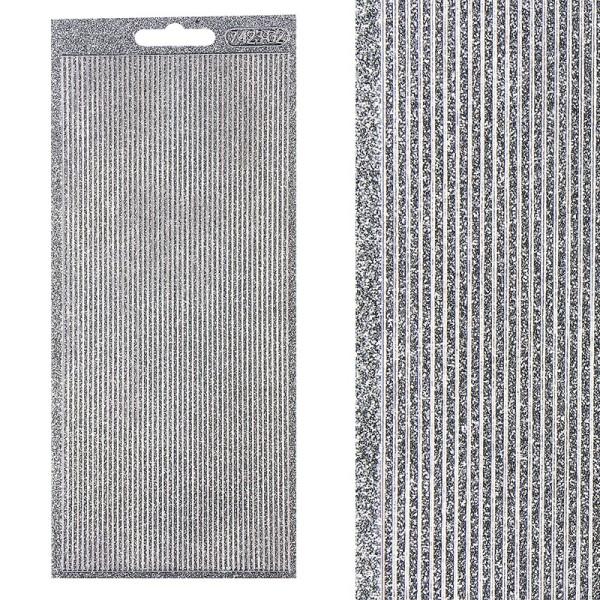 Microglitter-Sticker, Linien, 2mm, silber