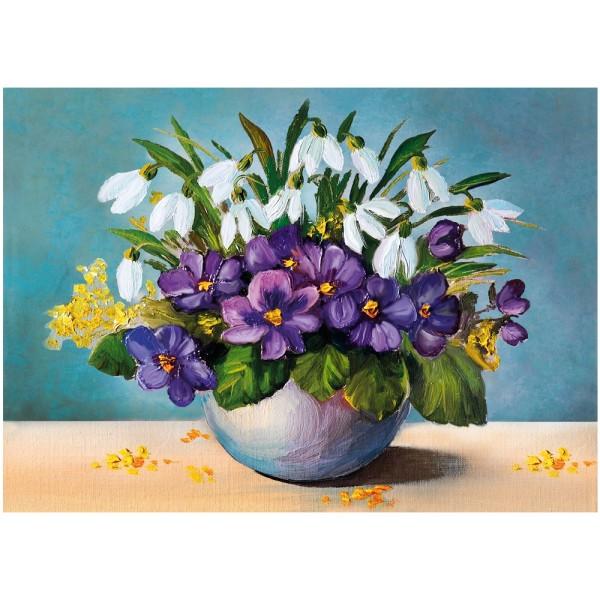 Diamond Painting, Vase mit Blumen, 25cm x 35cm, Motivleinwand, runde Steinchen, inkl. Werkzeug