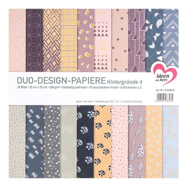 Duo-Design-Papiere, Hintergründe 4, beidseitig bedruckt, 25cm x 25cm, 250g/m², 20 Blatt