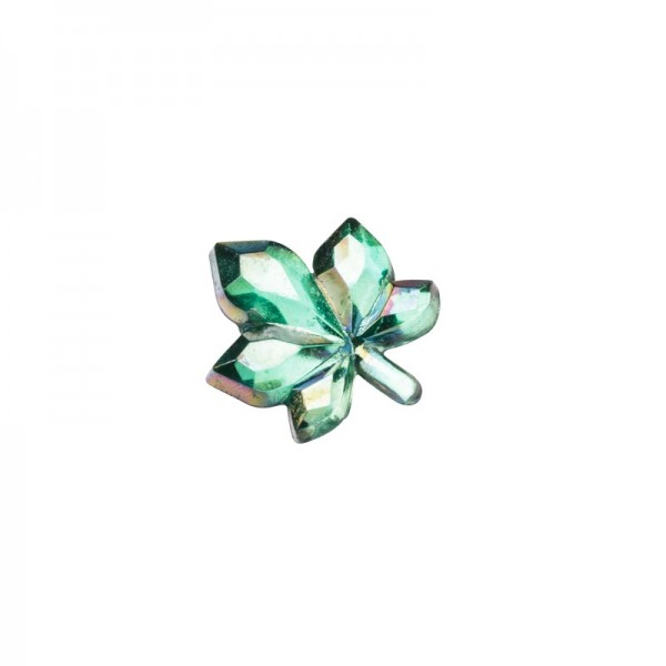 Glitzersteine, Ahorn-Blattornamente, 8 mm, 50 Stück, grün-irisierend