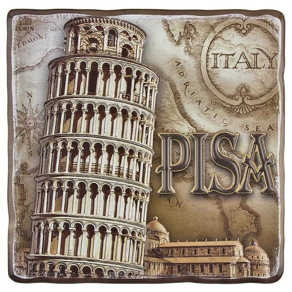Relief-Sticker, Nostalgie Pisa, 18 cm x 17,5 cm