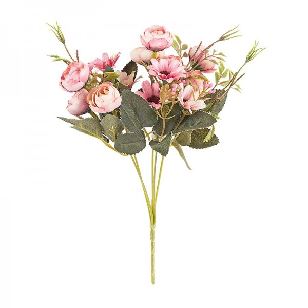 Blütenbusch, Rosen & Margeriten, 28cm hoch, 15 große Blüten Ø 2,5cm, Rosatöne