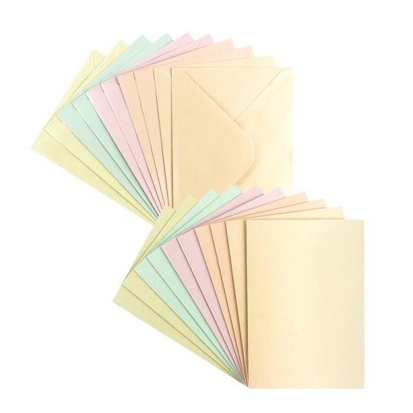 Grußkarten, Perlmutt, B6 (11,5cm x 16,5cm), 5 Farben, inkl. Umschläge, 10 Stück