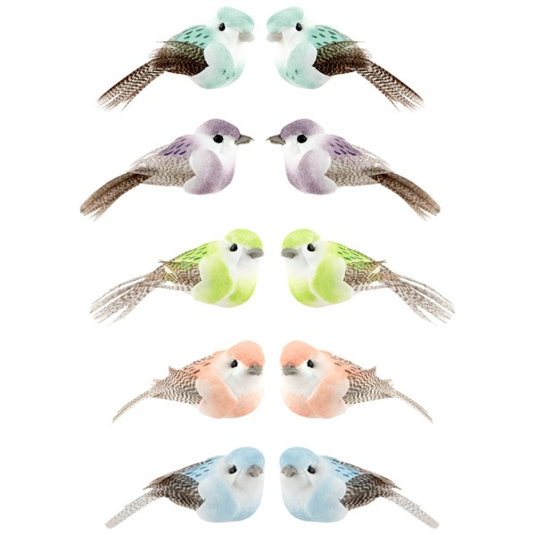 Deko-Federvögel, 5cm x 2,4cm x 2,3cm, 5 verschiedene Farben, 10 Stück