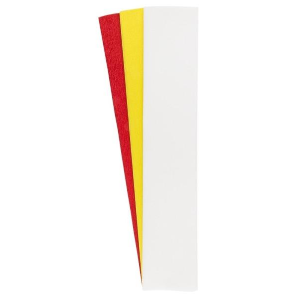 Krepp-Papiere, 50cm x 200cm, weiß, gelb, rot, 3 Stück