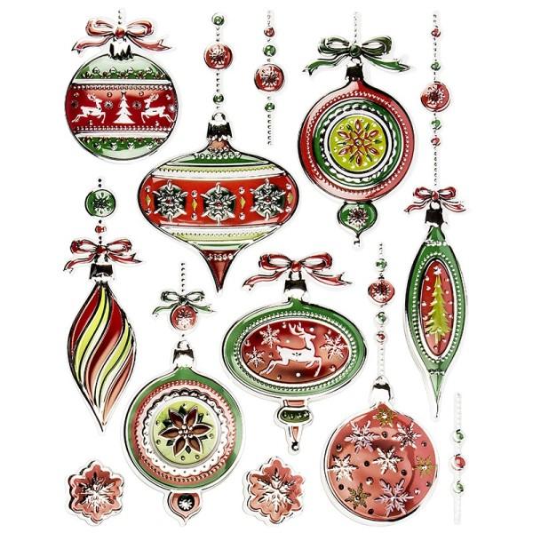 XL Relief-Sticker, Weihnachtskugeln, 35cm x 27,5cm
