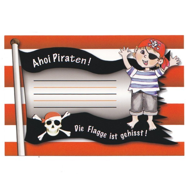Einladungskarte Piratenparty, 15 x 10 cm, Design 2