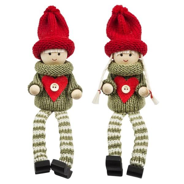 Winter-Püppchen, Lauren & Henry, 10,5cm hoch, sitzend, 2 Stück