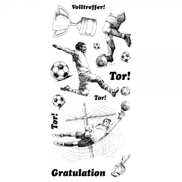 Feinkontur-Stempel, einzelne Motive auf Trägerfolie, Fußball