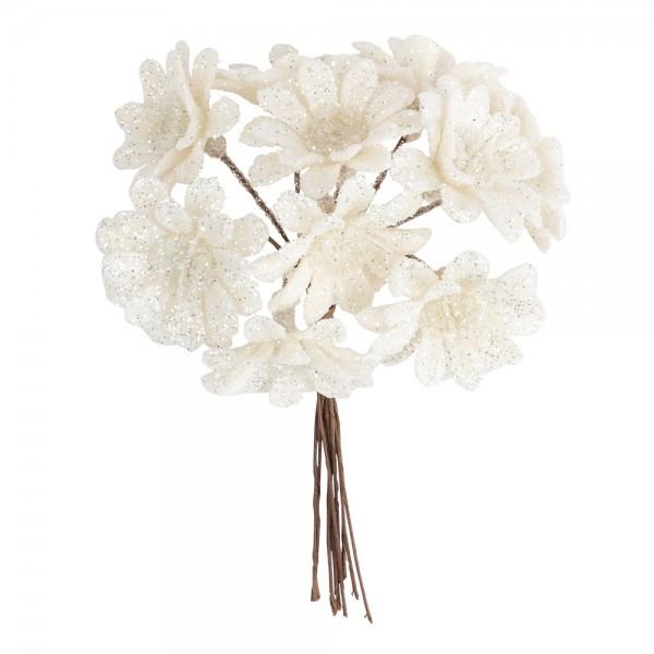 Deko-Zweige, Blüte 2, 10cm lang, am Draht, weißer Glimmer, 10 Stück