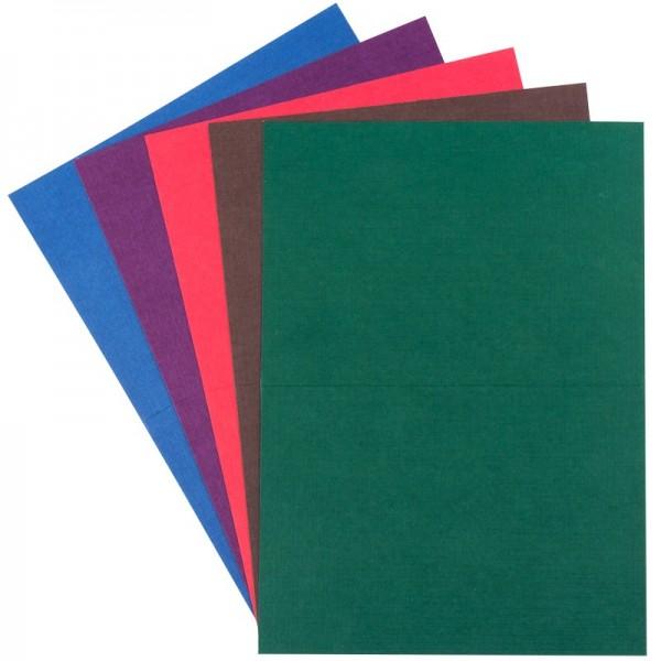Grußkarten in Leinen-Optik, B6, 5 Farben, kräftige Farbtöne, inkl. Umschläge, 10 Stück