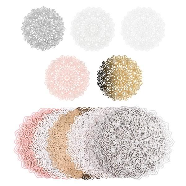 Laser-Kartenaufleger, Zierdeckchen, Ornament 24, Ø 14,5cm, 220 g/m², 5 Farbtöne, 20 Stück