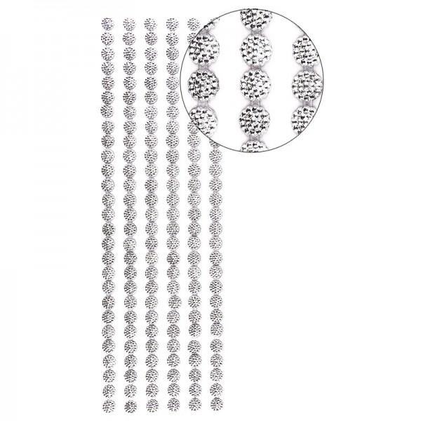 Halbperlen-Bordüren, Perlenblüte, 10cm x 30cm, selbstklebend, silber