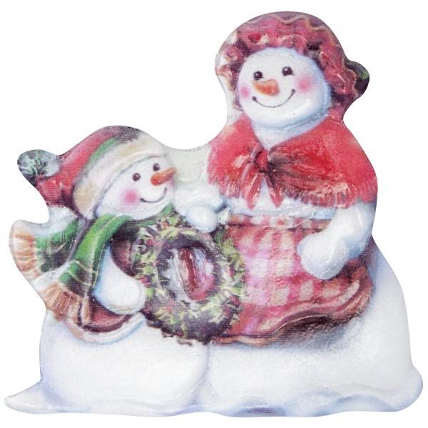 Wachsornament Lustige Schneemänner 9, farbig, geprägt, 6,5-7cm
