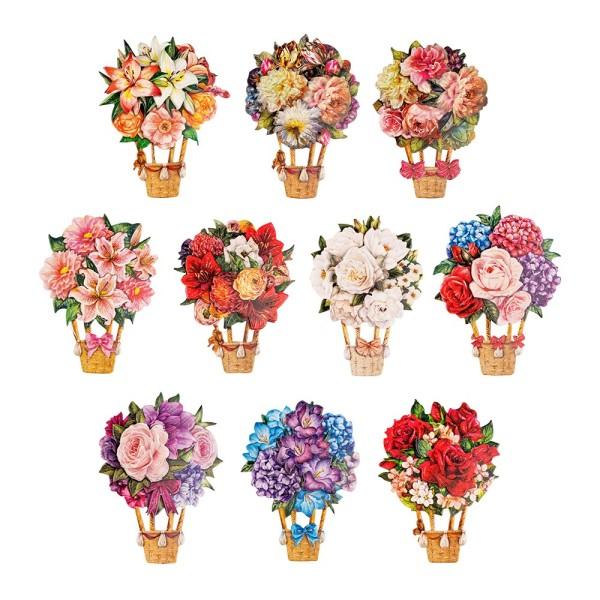 3-D Motive, Blumen-Ballons, 6,7-9,7cm, 10 Motive