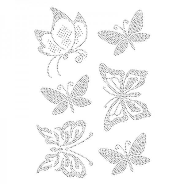 Bügelstrass-Design, DIN A4, einfarbig, klar, Schmetterlinge