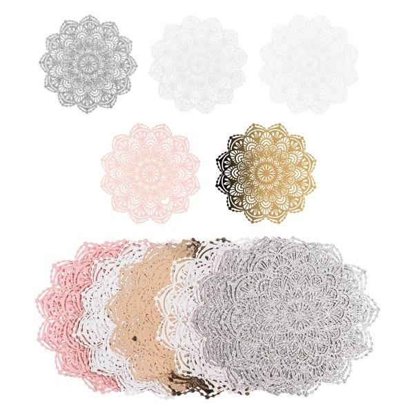 Laser-Kartenaufleger, Zierdeckchen, Ornament 23, Ø 14cm, 220 g/m², 5 Farbtöne, 20 Stück