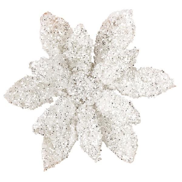 Deko-Blüten, Frosty 10, 30g, weiß mit Glitzer