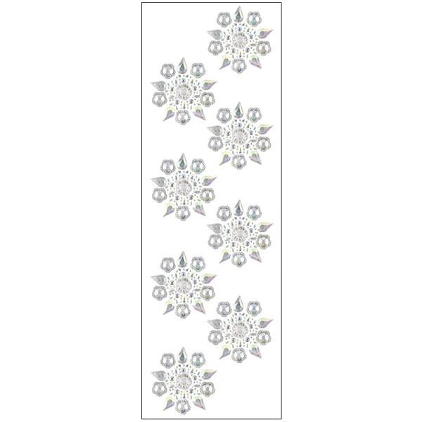 Kristallkunst, Blüten-Ornament 3, 10cm x 30cm, selbstklebend, klar irisierend