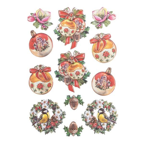3-D Relief-Sticker, Vintage-Weihnachten 1, verschiedene Größen, selbstklebend