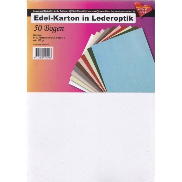 Edel-Karton in Lederoptik, DIN A4, 10 Farben, 50 Bogen