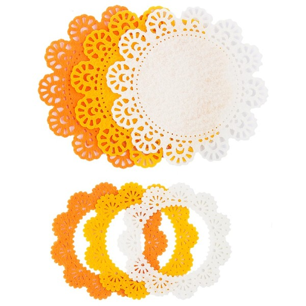 Folia Filzrähmchen, gelb/orange/weiß, Ø 7cm & 10cm, 6 Stück