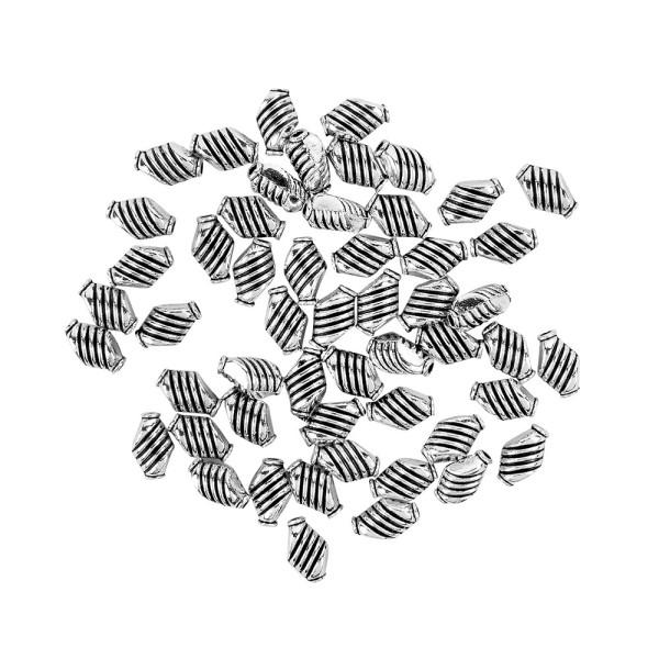 Perlen, mit Streifen-Relief, 9mm x 6mm, silber, 50 Stück