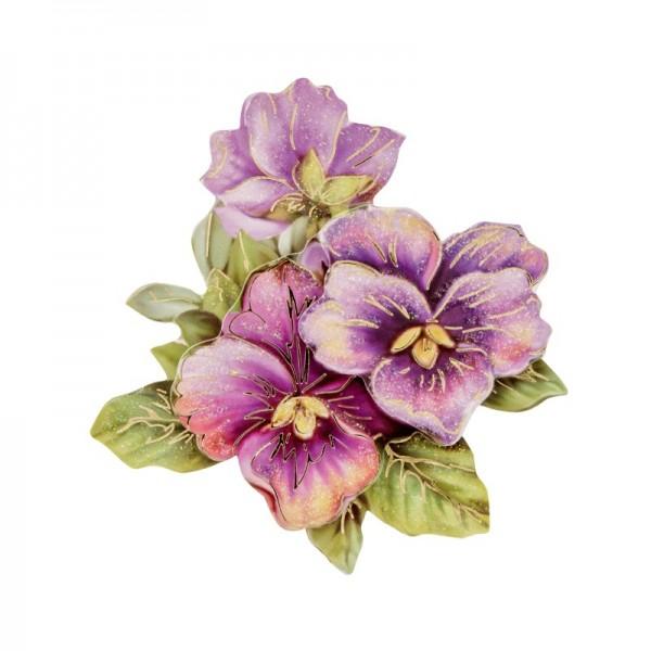 3-D Motiv, violette Blüten, Gold-Gravur & Glimmerlack, 8 cm