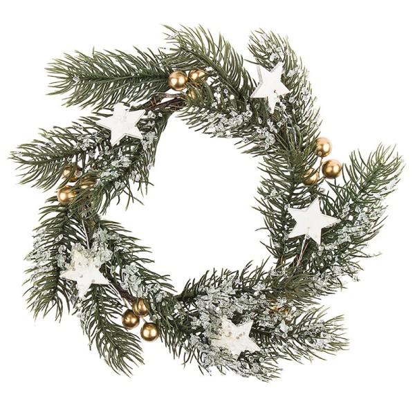Deko-Kranz, Winter 2, Ø 20cm, Tannenzweige, goldene Beeren & Sterne mit Eis-Effekt