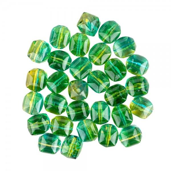 Perlen, Quader, facettiert, 1,3cm x 1,2cm, türkis-hellgrün, 28 Stück