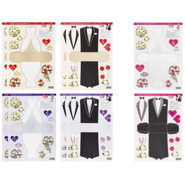 Stanzbogen, Hochzeits-Geschenkboxen, DIN A4, 6 verschiedene Designs, 10 Stück