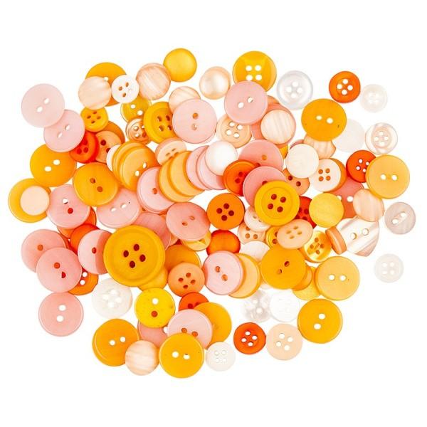 Farbige Knöpfe, 30g, Ø 9-18mm, verschiedene Orangetöne