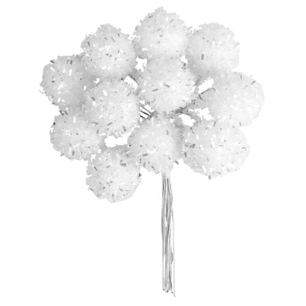 Deko-Zweige, Schneebälle 3, 11cm lang, am Draht, weißer Glimmer, 12 Stück