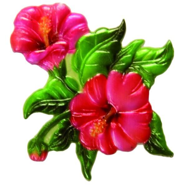 Wachsornament Hibiscus, 7 x 7 cm