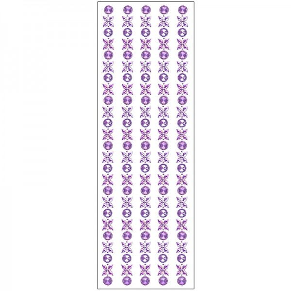 Kristallkunst, Blüten-Bordüre 3, 10cm x 30cm, selbstklebend, violett irisierend
