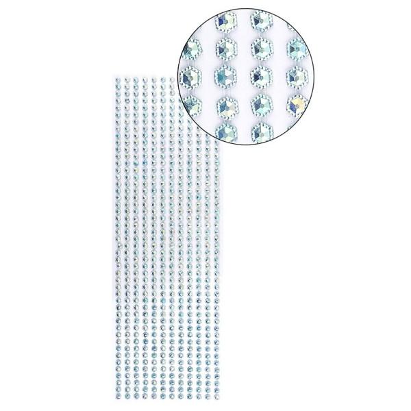 Schmuckstein-Bordüren, selbstklebend, facettiert, irisierend, Sechsecke Ø 5mm, 29cm, türkis