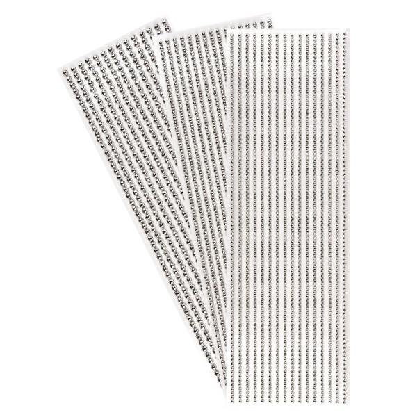 Halbperlen-Bordüren, rund: Ø 3mm, Ø 4mm, Ø 5mm, selbstklebend, spiegel-silber, 3 Bogen