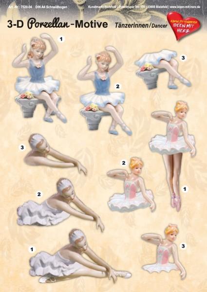 3-D Porzellan-Motive, Tänzerinnen, DIN A4 Bogen