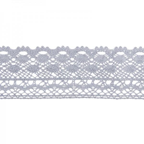 Häkelspitze Design 2, 3,7cm breit, 2m lang, blaugrau
