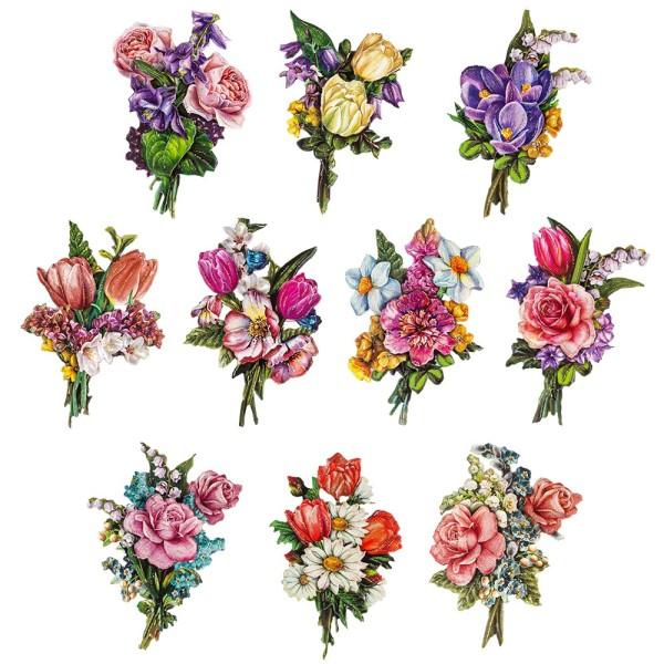 3-D Motive, Frühlings-Sträuße, 6,5-10,5cm, 10 Motive