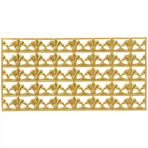 Wachs-Bordüren auf Platte, Französische Lilie, geprägt, gold, 20cm, 5 Stück